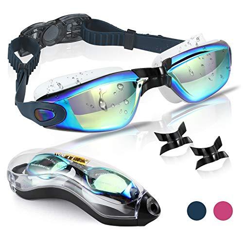 WOTEK Gafas de Natacion,Anti-vaho HD y Anti-UV Sin Fugas Gafas Natacion,Set con Puente Nasal Desmontable,Gafas Buceo de Protección para Hombres, Apto para Todo Tipo de Deportes Acuáticos