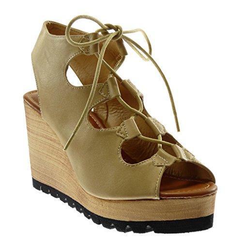 Angkorly - Damen Schuhe Sandalen Mule - Peep-Toe - Plateauschuhe - Römersandalen - Wooden Keilabsatz high Heel 9.5 cm - Beige 888-93 T 38