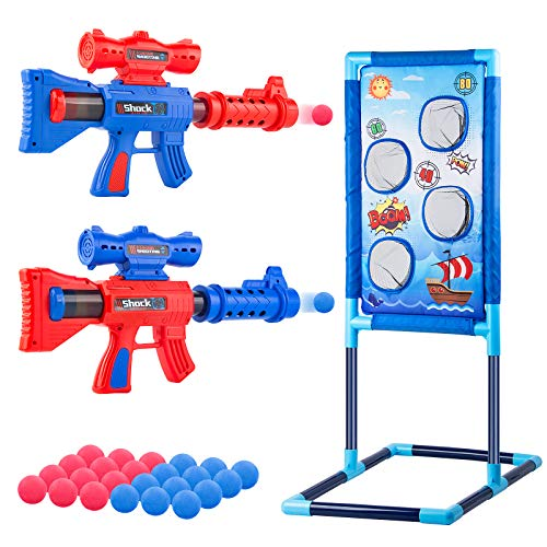 SUNGUY Shooting Game Toy with Standing Shooting Target, Air Toy Pump Guns for 5+ Years Old Kids, Foam Ball Popper Gun Toy with 24 Foam Balls