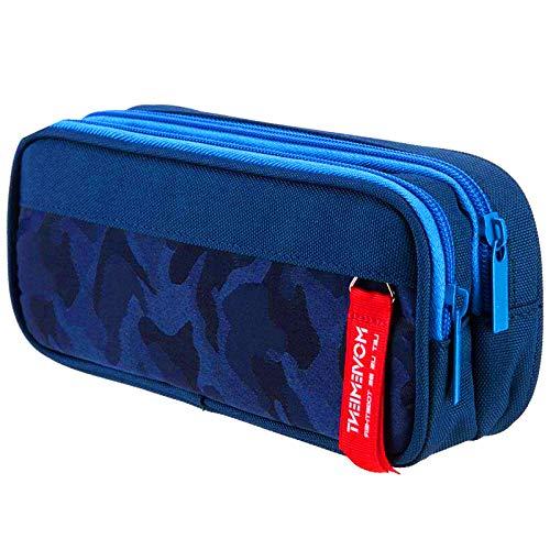 Astuccio Scuola con 3 Scomparti, lunaoo Grande Multifunzione Astucci Penne con Cerniera per Ragazzo & Ragazza, 22CM(Camouflage blu)