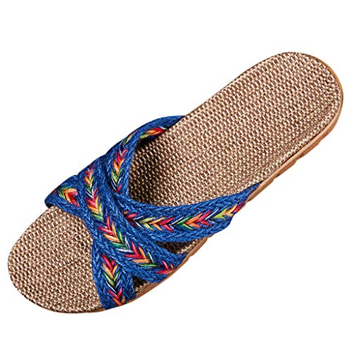 Inawayls Damen Leinen Hausschuhe Sommer Mode Casual Cross Strap Flache Schuhe Indoor Home Leinen Hausschuhe Schuhe
