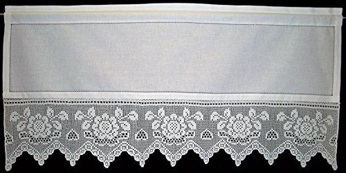Tende in Voile/Tendine Corte/Tenda/Tenda/Tenda M. uncinetto/M. fiori all' uncinetto in vero Realizzato a mano, 100% cotone, colore bianco, circa 50/120cm (AxL), nuovo (37051)