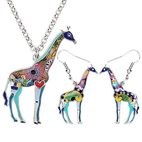 XQAQW Joyería para Mujeres y Adolescentes Conjunto de Collares Pendientes de Esmalte Aleación Jungle Patrón Floral encantos Animales Regalo-Azul
