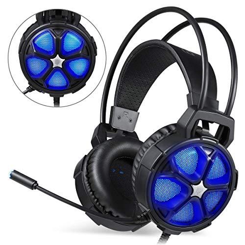 HWZDQLK Confortable LED Stéréo Gaming Éclairage LED de 3,5 mm pour Casque d'écouteur Intra-auriculaire Bandeau avec Microphone pour Jeu d'ordinateur avec Annulation de Bruit et contrôle du Volume