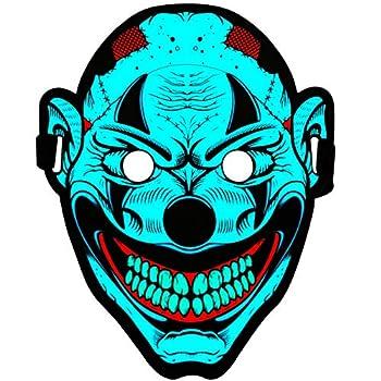 Halloween Masks - Led Rave Mask Sound Activated Clown Mask – Cool DJ Party Masks Light Up Mask