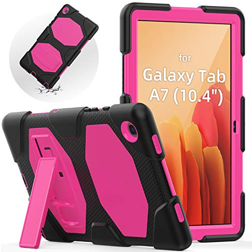 SEYMAC Galaxy Tab A7 2020 Case 10.4 Inch, Galaxy Tab SM-T500 / SM-T505 Cover, Shockproof Rugged Case with Built-in Kickstand for Samsung tab A7 10.4, (Black+Pink)