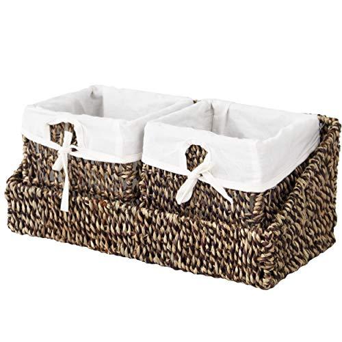 Cesta de mimbre con bandeja para organizar la pared y forros extraíbles (2 cestas de color marrón con bandeja)