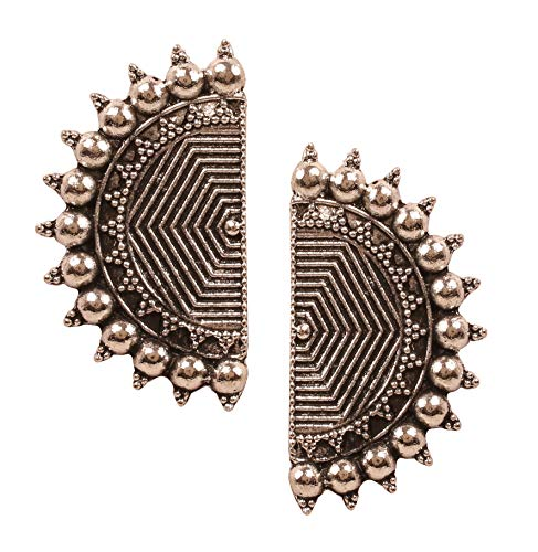 NEW! Touchstone' Indian Oxidized Jewelry' Exclusive Hand Peeled Filigree Tribal Gypsy Designer Jewelry Earrings In Oxidized Finish For Women.