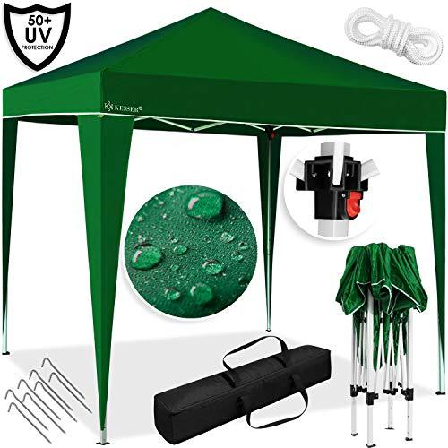 Kesser® Pavillon 3x3m | wasserdicht | inkl. Tasche | Pop-Up Klicksystem | UV-Schutz 50+ | Faltpavillon | Gartenzelt | Partyzelt | Metall-Verstrebungen | Grün