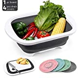 TitaCare Collapsible Cutting Board, vegetable washing drain basket, storage basket 3 in 1 Multifunction with 4pcs Silicone Bathroom and Kitchen Drain Covers