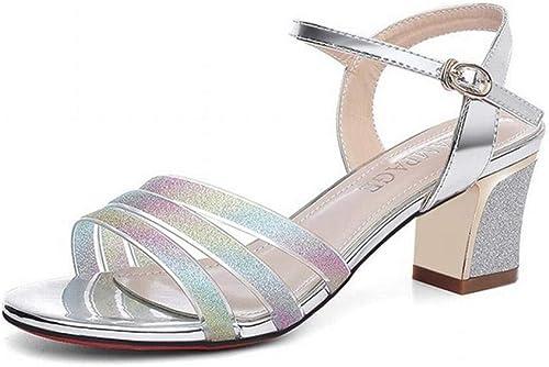 LTN LTN LTN Ltd - sandals épais avec Un Mot avec des Sandales été Femme avec des Chaussures de Jupe Chaussures à Talons Hauts Romain Femmes, MultiCouleure, 39 57c