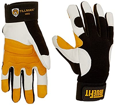 John Tillman and Co 1490S TrueFit Super Premium Full Finger Top Grain Goatskin and Spandex Mechanics Gloves with Elastic Cuff