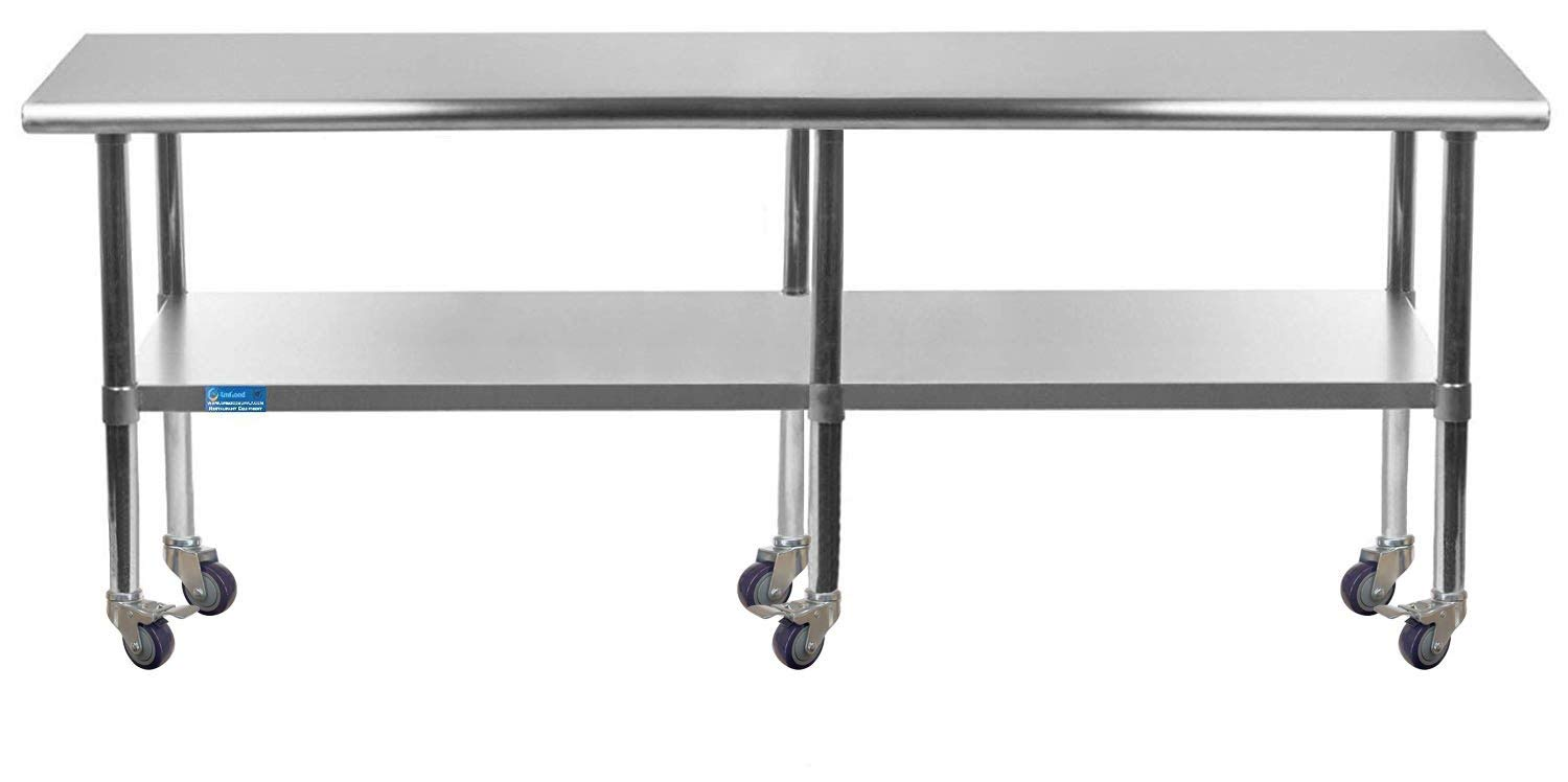 AmGood Stainless Steel Work price Table Max 64% OFF with Casters Station