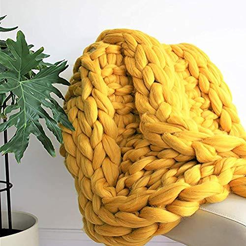Manta De Punto Grueso Hecha A Mano, 100% Lana Merino Thick Line Throw Soft Rug, Calentar Decoración del Hogar Alfombra para Mascotas,Amarillo,50 * 50cm