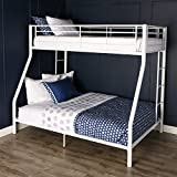Walker Edison Furniture Company Modern Metal Pipe Twin over Full Double Bunk Kids Bed Bedroom Storage Guard Rail Ladder, White