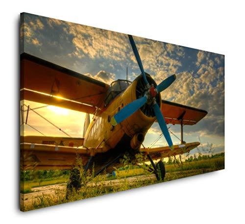 Paul Sinus Art altes Flugzeug 120x 60cm Panorama Leinwand Bild XXL Format Wandbilder Wohnzimmer Wohnung Deko Kunstdrucke