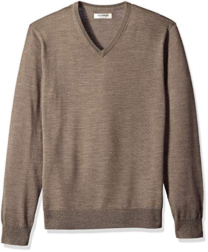 Amazon Brand - Goodthreads Men's Lightweight Merino Wool V-Neck Sweater, Light Brown, X-Small