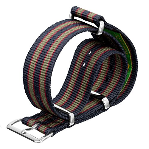 Cinturino Geckota® in nylon, Militare NATO, Bond Vintage, Blu/Rosso/Verde,...