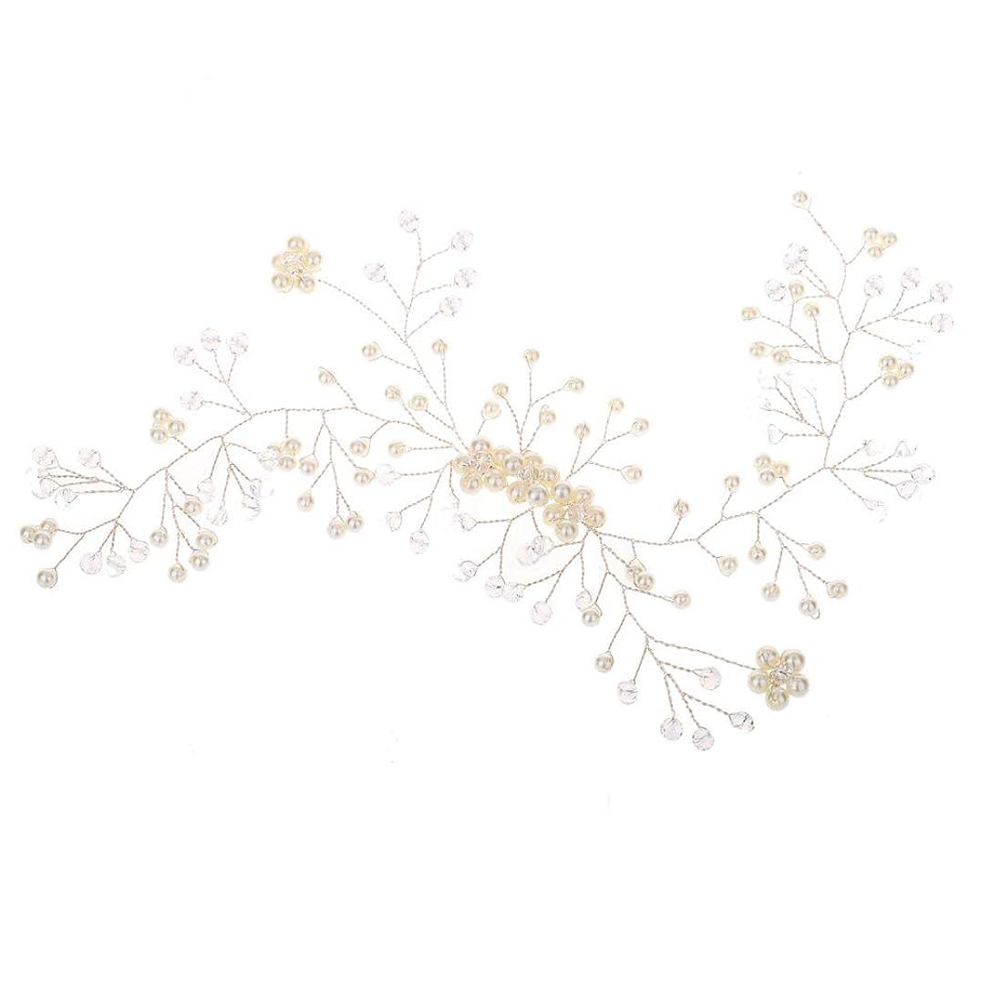 ダンプ我慢する一人で花嫁のウェディングヘッドバンドブライダルブライダルパールヘッドピースウェディングパーティー(ホワイト)
