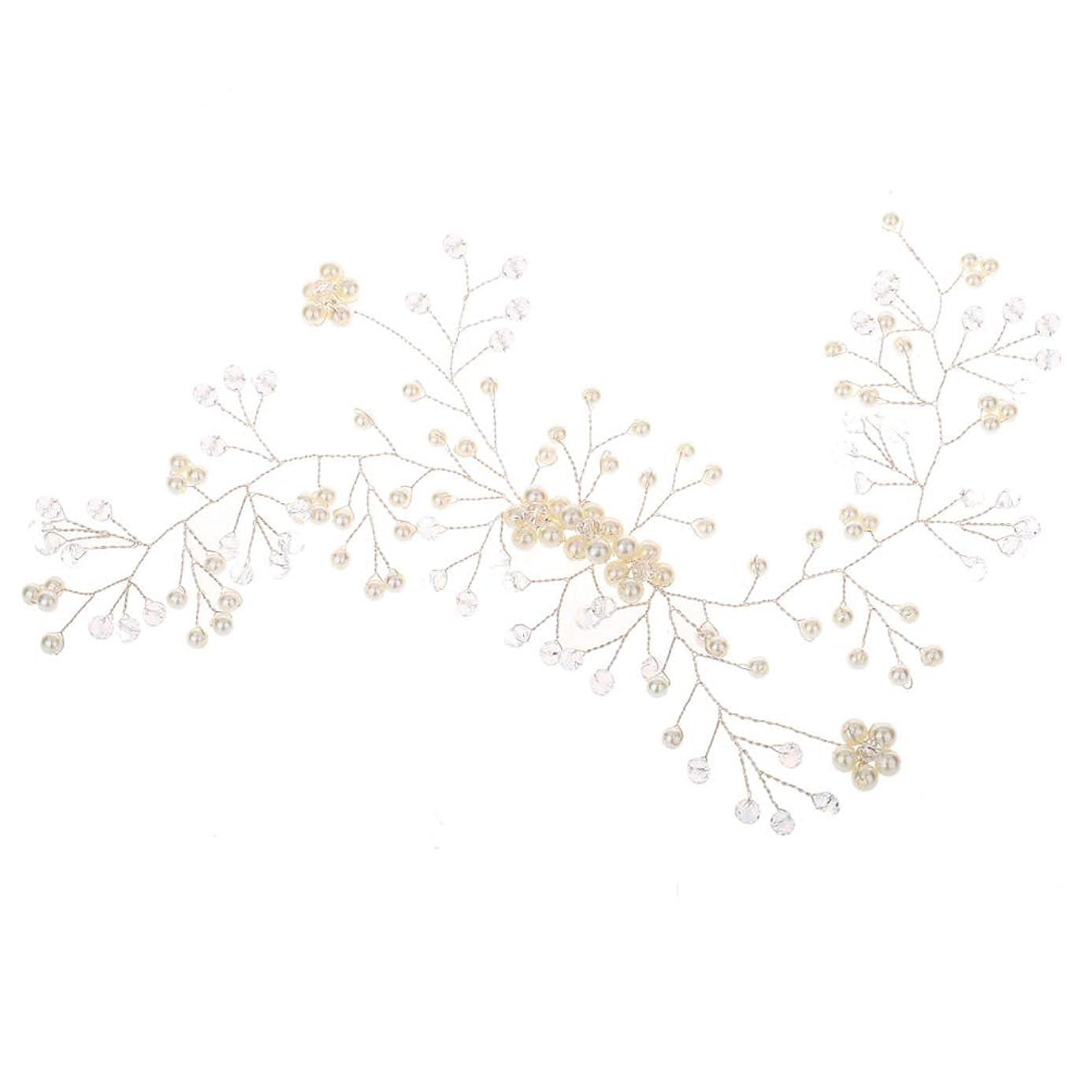 計り知れない団結高潔な花嫁のウェディングヘッドバンドブライダルブライダルパールヘッドピースウェディングパーティー(ホワイト)