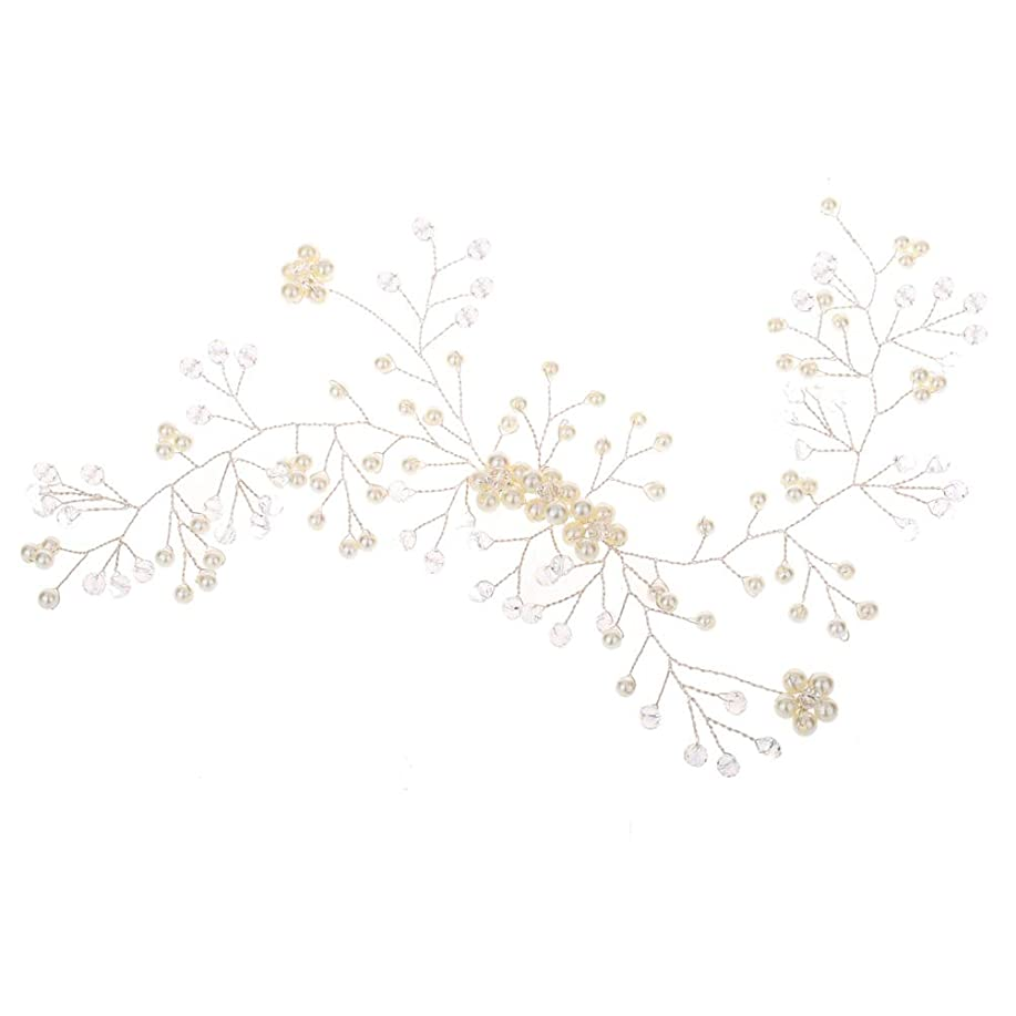 居住者失効大聖堂花嫁のウェディングヘッドバンドブライダルブライダルパールヘッドピースウェディングパーティー(ホワイト)