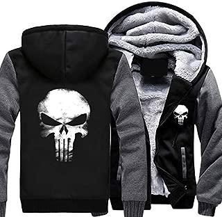 The Punishing Skull USA Size Punisher Skull Cosplay Coat Zipper Hoodie Winter Fleece Unisex Thicken Jacket Sweatshirts(Red,XXXXL)