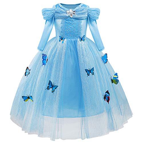 MYRISAM Girls Cinderella Princess Dress Halloween Costume Party Fancy Dress Long Sleeve Birthday Butterflies Gown Blue 9-10T