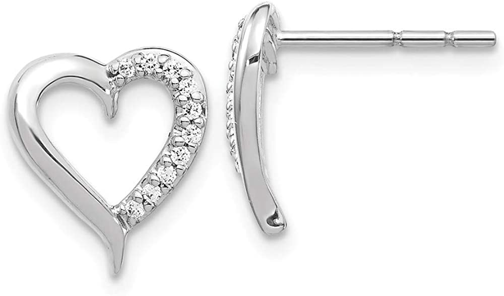 Solid 14k White Gold Diamond Heart Button Post Studs Earrings - 10mm x 9mm (.1 cttw.)