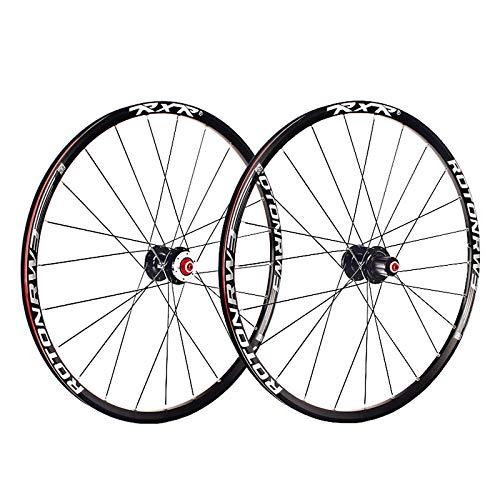 MTB Bike Wheel 26 Inch Bicycle Wheelset Double Layer Alloy Rim Disc Brake 7-11 Speed 5 Palin Bearing Hub Quick Release 24H (Color : Black)