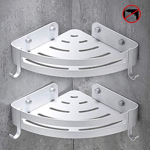 sunvito Estanteria Baño Ducha Rinconera Estantería de Esquina para Baño Ducha Aluminio, Acabado Mate, Estantes (2 Piezas)
