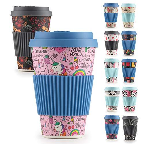 Premium Bambusbecher, 400ml - Coffe to Go Becher getestet von TÜV - Wiederverwendbare Kaffebecher aus natürliche Materialen - Trinkbecher mit Silikondeckel und Banderole (Unicorn)