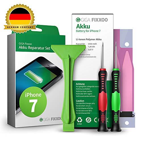 GIGA Fixxoo Akku Reparaturset kompatibel mit iPhone 7 | Einfacher Austausch mit Anleitung und Werkzeug im Set bei Defekter Batterie, schnelles Wechseln
