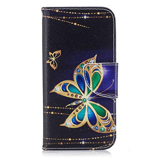 Xiaomi Redmi 6 Case, Bear Village Painted Pattern Premium PU Leather Magnetic Wallet Case Cover with Kickstand and Card Holder ID Slot for Xiaomi Redmi 6 (#4 Butterfly)