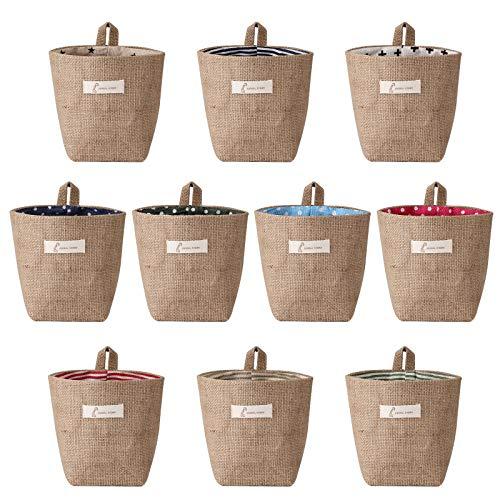 sansheng 10 Pack Wall-Hanging Storage Bags Hanging Storage Bags Cotton Linen Storage Basket Foldable Wall-Hanging Basket Family Organizer Box Decorative Bag (Color as Shown)