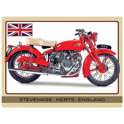 Red Hot Citron 300 x 400 mm Vincent Touring Rapide Sign Pancarte Murale en métal Beige/Blanc/Rouge