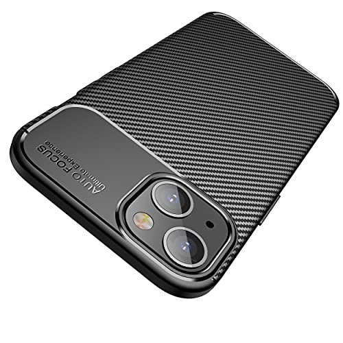AVANA Etui do iPhone 13 Mini etui ochronne, elastyczne, cienkie etui, czarne, silikonowe, TPU odporne na zarysowania, włókno węglowe, wygląd włókna węglowego