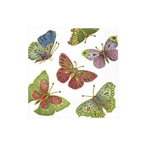 Caspari 10690C Papierservietten dreilagig, 20 Stück 24 x 24 cm, Jeweled butterflies