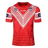 AFDLT Hommes Rugby Jersey Coupe du Monde Tonga Home Polo Shirt Summer Sports Loisirs T-Shirts Respirant Maillot de Football,Red,XXXL