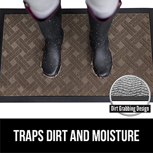 Gorilla Grip Original Durable Natural Rubber Door Mat, Waterproof, 23x35, Low Profile, Heavy Duty Doormat for Indoor and Outdoor, Easy Clean, Rug Mats for Entry, Patio, Busy Areas, Taupe Basket Weave