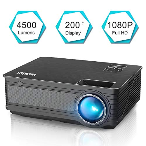 "Videoproiettore,WiMiUS 4000 Lumen LED Proiettore Full HD Supporto 1080P Con 200"" Display Home Cinema Multimedia Proiettore per iPhone Smartphone Tablet PC Computer con TV/AV/VGA/USB/HDMI (Nero)"