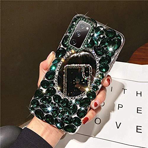 NSSTAR - Carcasa para Samsung Galaxy S20 FE con efecto espejo para niña, con lentejuelas brillantes, ultra fina, ligera, de silicona y poliuretano termoplástico, color verde