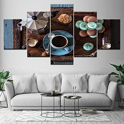 5 Piezas Cuadro sobre Lienzo De Fotos Taza De Café Pastel Al Vapor Alimentos Desayuno Lienzo Impresión Cuadros Decoracion Salon Grandes Cuadros para Dormitorios Modernos Mural Pared Listo para Colgar
