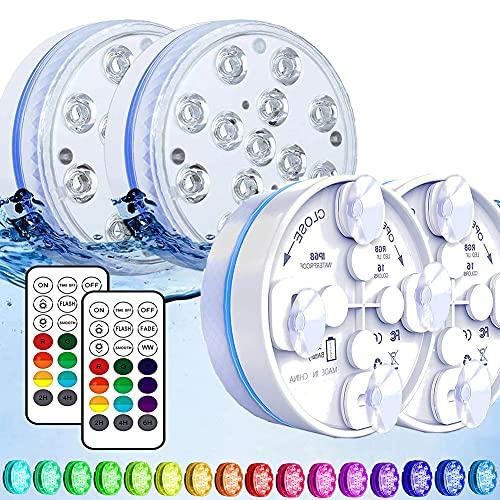 Joycome Unterwasser Licht, Poolbeleuchtung 13 RGB LED Badewanne Licht, IP68 Wasserdicht Teichbeleuchtung mit Magnet, RF Fernbedienung für Swimmingpool, Vasenbasis, Aquarium, Inneneinrichtung(4 Stück)