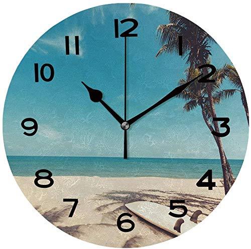 Ad4ssdu4 Reloj de pared redondo con tabla de surf en playa tropical en verano para colgar en la pared