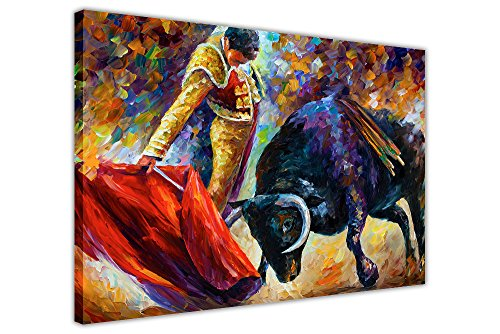 CANVAS IT UP Spanisch Bull Fight und Matador von Leonid Afremov auf Rahmen Leinwand Prints New Abstrakte Bilder Modern Art Größe: 101,6x 76,2cm (101x 76cm)