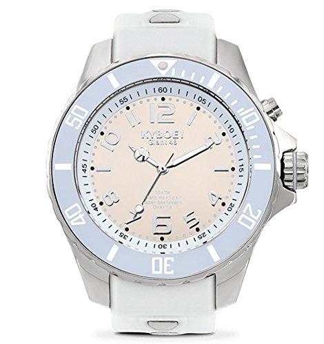 KYBOE! Reloj de cuarzo de acero inoxidable y silicona (modelo: reflector de plata)