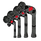 ゴルフ ヘッドカバー ニット セット 4枚セットセット、ゴルフクラブドライバーウッド(460 cc)*1フェアウェイウッド* 2とハイブリッドフェアウェイ*1 (Grey Red Arygles)