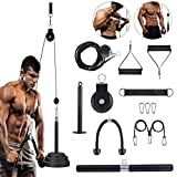 Fitness LAT and Lift Pulley System, with Upgraded Loading Pin for Triceps Pull Down, Biceps Curl, Back, Forearm, Shoulder-Home Gym Equipment Profession System