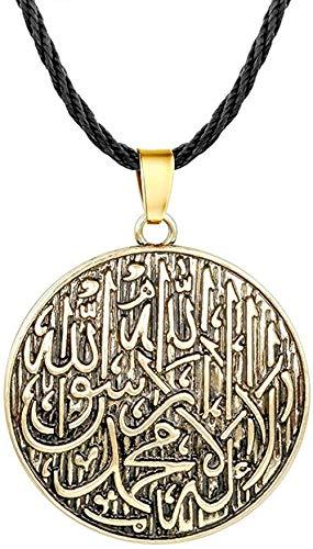 LKLFC Collar Mujer Collar Hombre Collar Árabe Musulmán Islámico Dios Encanto Redondo Vintage Colgante Collar Regalo con Cadena de Cuerda Hombres Joyería Colgante Collar Niñas Niños Regalo