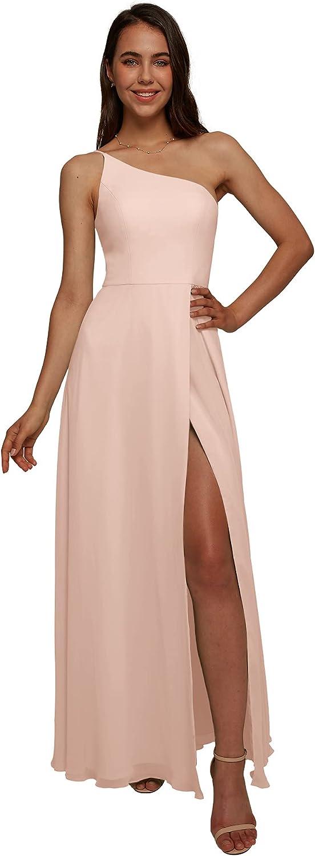 AW BRIDAL One Shoulder Chiffon Gifts Pearl Bridesmaid Dresses Lon Pink Max 74% OFF